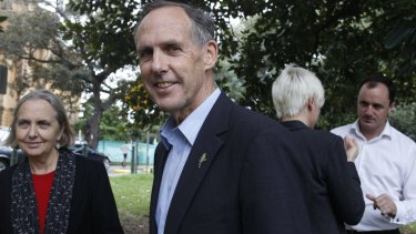 Bob Brown with Senator Lee Rhiannon, left, in Sydney in 2011.
