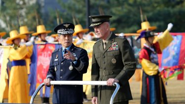 Chairman of the US Joint Chiefs of Staff, General Joseph Dunford, right, and Chairman of the South Korean Joint Chiefs of Staff General Jeong Kyeong-doo in Seoul earlier this month for their Military Committee Meeting.