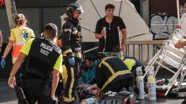 Paramedics at work on Las Ramblas.