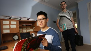 Tutor Paul Leone (right) with Year 12 biology student Benjamin Huang, both of Castle Hill, were connected by the peer-to-peer platform Scooter Tutor.
