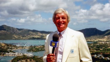 Richie Benaud in the Caribbean in 1977, wearing the first jacket made for him by John Cutler.