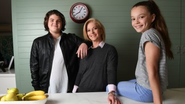 Juanita Phillips at home with her children Marcus and Mischa.