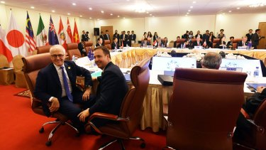 Steve Ciobo and Prime Minister Malcolm Turnbull attended a meeting during the APEC summit to negotiate the Trans-Pacific Partnership but Canada sensationally didn't show up.