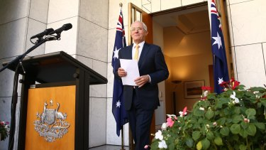 Prime Minister Malcolm Turnbull at his press conference on Monday.