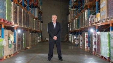 Greg Stokes in Barokes Wines  Tullamarine offices and warehouse.