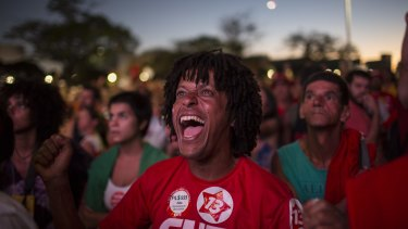 A government supporter in Brasilia.