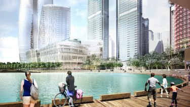 Artist's impression of Crown Resorts' casino and apartment complex at Barangaroo.