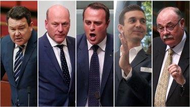 The Coalition MPs who could cross the floor: Dean Smith, Trent Zimmerman, Tim Wilson, Trevor Evans and Warren Entsch.