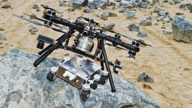 A model of an eight-rotor octocopter designed for future use on Mars.
