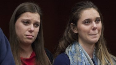 Sisters Lauren Margraves (left) and Madison Rae Margraves (right) had earlier given victim impact statements during the third and final sentencing hearing for sexual abuse charges.