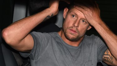 Mick Fanning at Sydney airport days after the shark attack at Jeffreys Bay, South Africa.