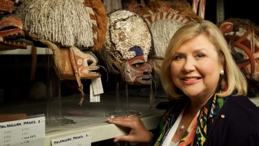 Tough time: Australian Museum chief executive Kim McKay with Malagan masks from Papua New Guinea.