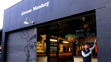 Canberra restaurateur Socrates Kochinos outside his newest venture, Grease Monkey, due to open at the end of this week in Lonsdale Street, Braddon.