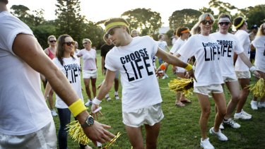 George Michael impersonators for the Gay and Lesbian Mardi Gras Festival 2010 rehearse 28 historic years.