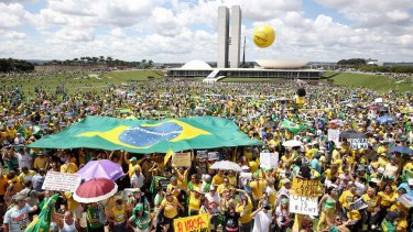 Crowds in Brasilia were stimated at 25,000 and 100,000 depending on who reported it.
