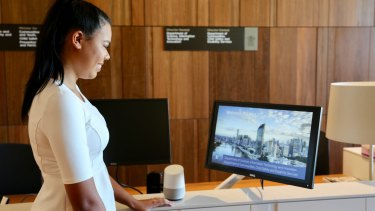 A staff member using the Eve system at 1 William Street.