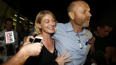 60 Minutes presenter Tara Brown and former producer Stephen Rice on their return to Sydney.