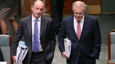 Mr Robert arriving to question time with Treasurer Scott Morrison.