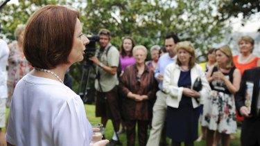 Julia Gillard speaks to child sex survivors at Kirribilli House in January 2013.