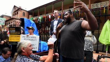 Bogaine Spearim  addresses protesters in Macquarie Street.