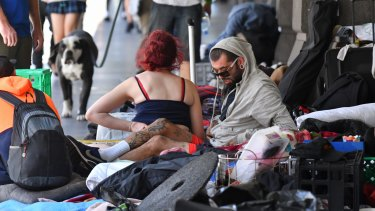 The homeless camp outside Flinders Street Station on Wednesday.