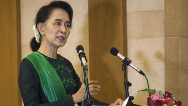 Myanmar opposition leader Aung San Suu Kyi in Yangon on Saturday.