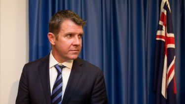 Premier Mike Baird, after addressing the media about local council amalgamations.