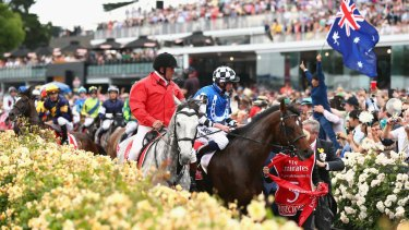 Araldo (in background) is frightened by an Australian flag, as jockey Dwayne Dunn rides him back to the mounting yard.