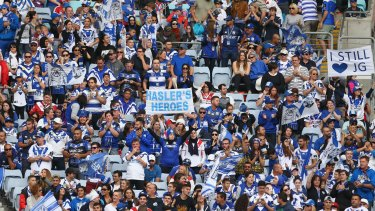 In their numbers: Bulldogs fans at Sunday's match against the Dragons. The crowd figure was just over 20,000.