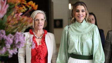 Lucy Turnbull and Her Majesty Queen Rania Al Abdullah of Jordan visit the National Portrait Gallery in Canberra on Wednesday.