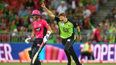 Got him, yes: Thunder all-rounder Shane Watson celebrates dismissing Sixers batsman Trent Lawford during the Big Bash League match at Spotless Stadium on December 17.