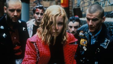 """Jacqueline McKenzie, centre, with Russell Crowe (left) and Daniel Pollock in """"Romper Stomper"""" (1992)."""