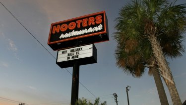 A Hooters restaurant sign in the US.