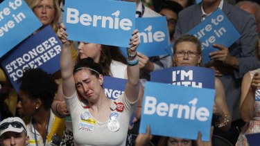 Emotional farewell:  supporters of defeated candidate Bernie Sanders refused to relinquish their man or the cause they believe he is now abandoning.