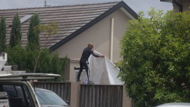 A marquee is installed before the wedding between Hassan Sayour and Aisha Mehajer.