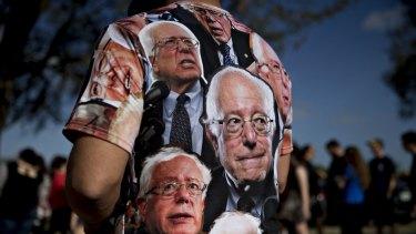 A campaign volunteer for Democratic presidential candidate Bernie Sanders.