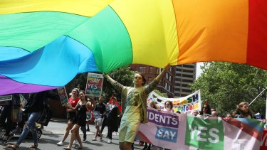 A person holds a rainbow flag during a march in support of marriage equality near Victoria Park in Sydney.
