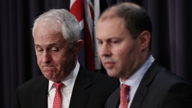 Prime Minister Malcolm Turnbull with Minister Josh Frydenberg at Parliament House in Canberra.