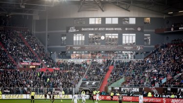 Kindergartners and their parents have a chance to watch the match from the kindergarten inside the FC St. Pauli soccer team's stadium.
