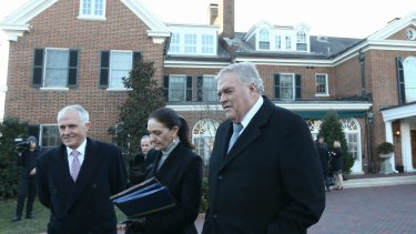 Prime Minister Malcolm Turnbull, Susie Annus and Australian Ambassador to the US Kim Beazley arrive for a tree planting at the residence of the Australian Ambassador in Washington DC during the Prime Minister's official visit to the United States on Tuesday 19 January 2016.