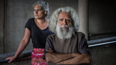 Victorian Senior Australian of the Year,  Jack Charles, pictured with manager Patrice Capogreco.