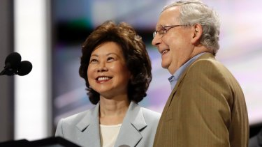 Former Labour Secretary Elaine Chao and her husband, Senate Majority Leader Mitch McConnell.