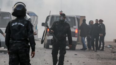 Tunisian security forces clash with  demonstrators in Ben Guerdane in January.