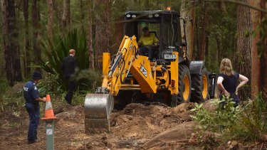 Police excavate bushland searching for the remains of Matthew Leveson.