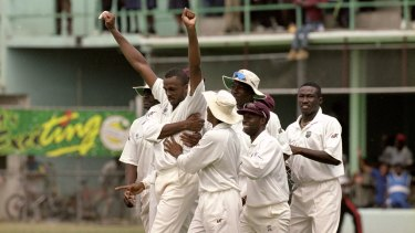 Courtney Walsh of the West Indies celebrates a wicket.