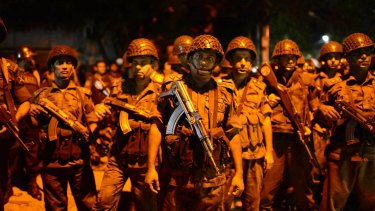 Bangladesh security forces at the Holey Artisan Bakery where 20 people were killed.