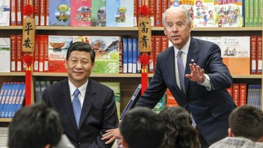 Xi with US Vice-President Joe Biden taking questions from students in California in 2012.