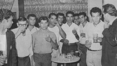 Charles Perkins (second from right) and his Freedom Riders visit the Burlington Hotel in Haymarket, 1965.