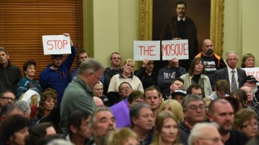 The City of Greater Bendigo council meeting in June, which saw locals vote against the approval of a mosque.