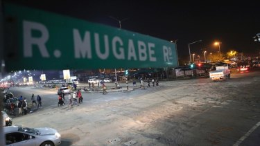 Robert Mugabe Road in Harare on Tuesday. The Associated Press saw three armoured personnel carriers with several soldiers in a convoy on a road heading towards an army barracks just outside the capital.